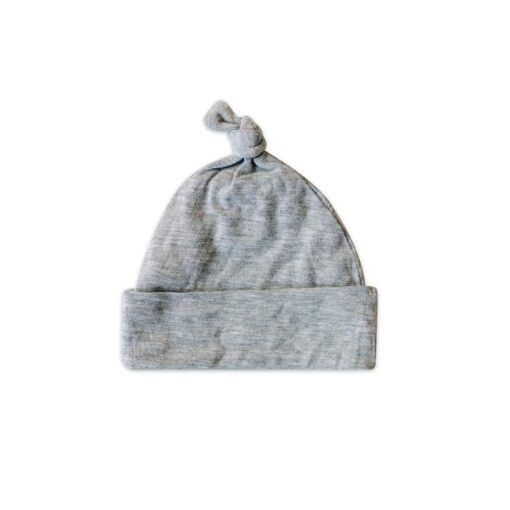 Little Sleepies Bamboo Heather Gray Baby Knotted Beanie Hat