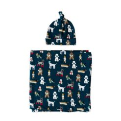 Little Sleepies Gift Set in Aqua Puppy Love with Multi-Functional Baby Swaddle and Matching Knotted Beanie Hat