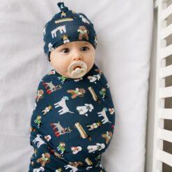 Little Sleepies Aqua Puppy Love Swaddle & Hat Set