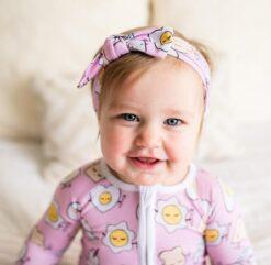 Pink Breakfast Buddies Baby Bow Headband by Little Sleepies