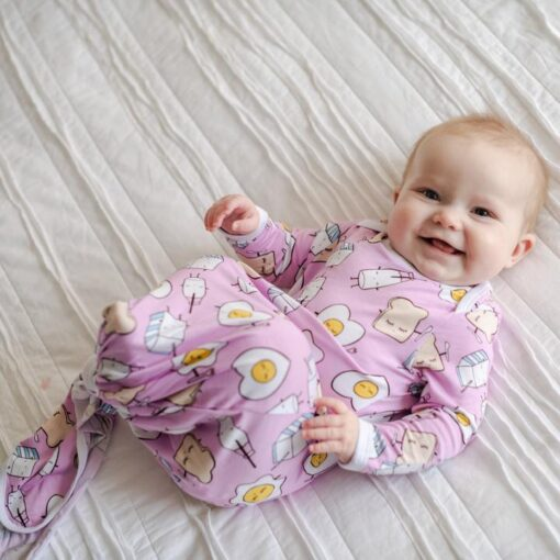 Little Sleepies Pink Breakfast Buddies Bamboo Viscose Adjustable Baby Knotted Gown
