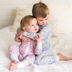 Little Sleepies Toddler Pajama Set Spring 2021 Blue Breakfast Buddies