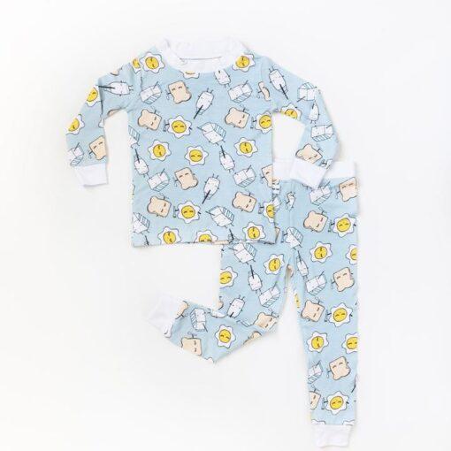 Breakfast Toddler Pajamas in Blue  by Little Sleepies