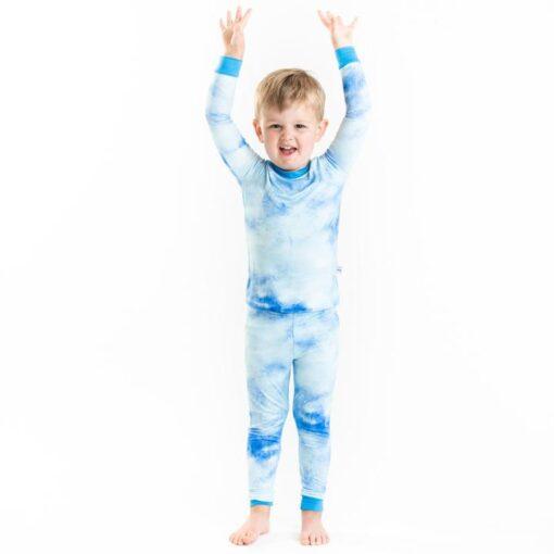 Little Sleepies Blue Watercolor Bamboo Viscose Long Sleeve Two-Piece Pajama