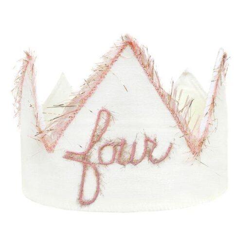 oh baby! Four Blush Linen Birthday Crown