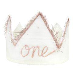oh baby! One Blush Linen Birthday Crown