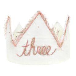 oh baby! Three Blush Linen Birthday Crown