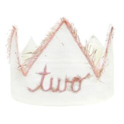 oh baby! Two Blush Linen Birthday Crown