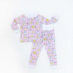 Breakfast Toddler Pajamas in Pink by Little Sleepies