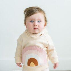 Baby Wearing Rainbow Pocket Hooded Sweatshirt in Natural