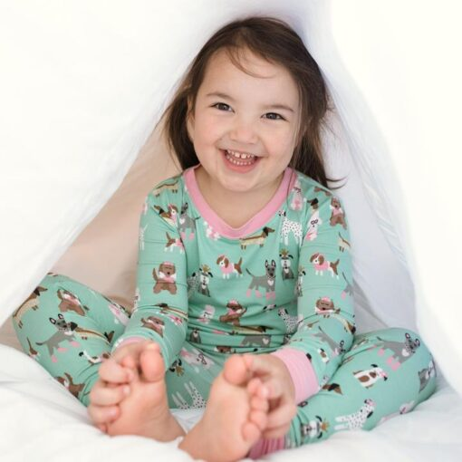 Little Sleepies Aqua Puppy Love Bamboo Viscose Pajama Set