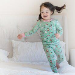 Little Sleepies Toddler Bamboo Pajama Set in Aqua Puppy Love Blue Dog Print