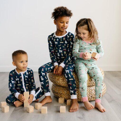 Little Sleepies Bamboo Viscose toddler Pajama Set Long Sleve Pants and Shirt in Aqua Puppy Love