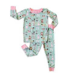 Little Sleepies Two-Piece Pajama Set for Babies and Toddlers Puppy Dog Pajamas in Aqua