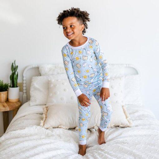 Little Sleepies Toddler Pajamas in Blue Breakfast Buddies