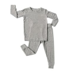 Solid Heather Gray Little Sleepies Bamboo Viscose Toddler Pajama Set Spring 20201