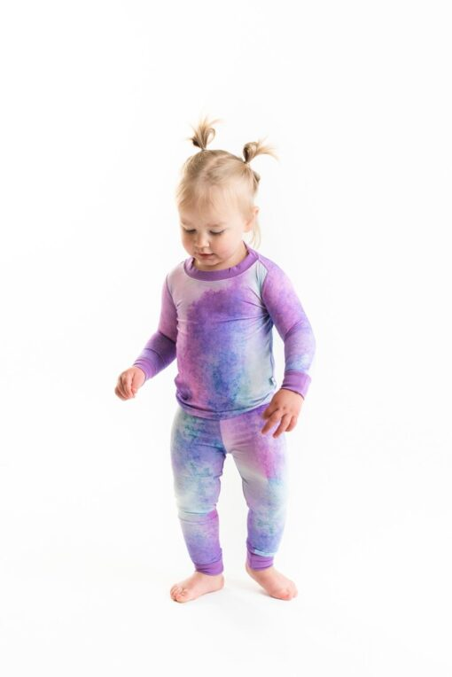 Little Sleepies Purple Watercolor Bamboo Viscose Long Sleeve Two-Piece Pajama