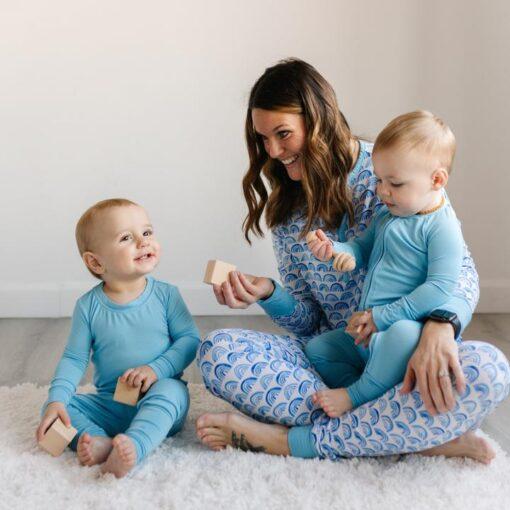 Family matching Little Sleepies Women's Blue Rainbow Pajama Bottoms