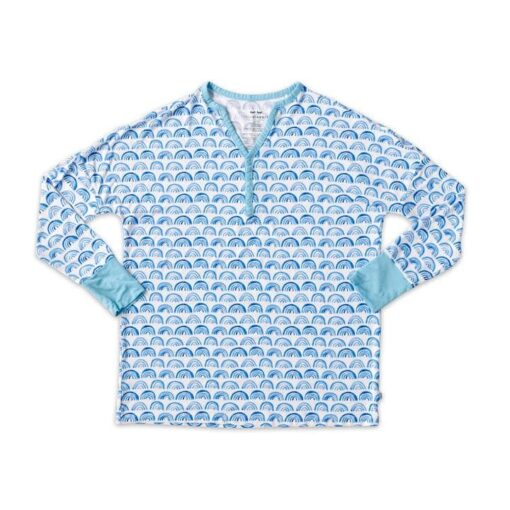 Blue Rainbows Bamboo Women's Pajama Top from Little Sleepies Long Sleeve