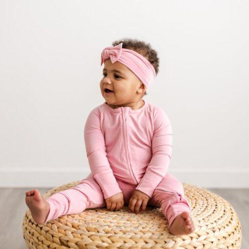 Little Sleepies Zipper Romper Footie Bamboo Baby Pajamas in Bubblegum Pink