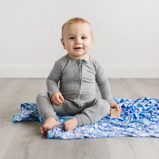 Little Sleepies Zipper Romper Footie Bamboo Baby Pajamas in Hether Gray