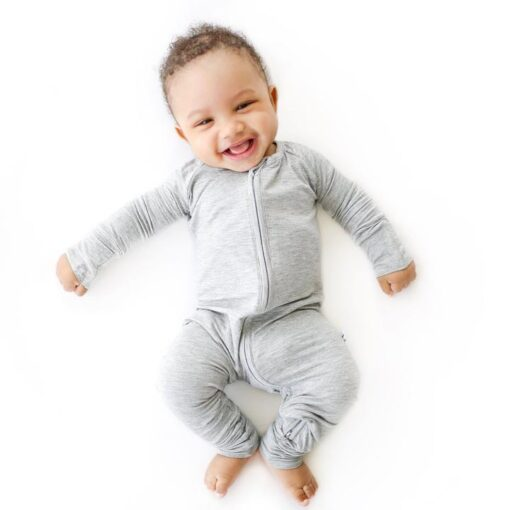 Little Sleepies Foldable Foot Cuff Pajamas in Heather Gray Baby and Toddler Pajama Romper Footie