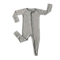 Baby Zippered Romper Footie by Little Sleepies in Heather Gray