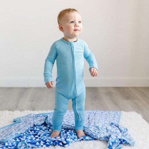 Little Sleepies Zipper Romper Footie Bamboo Baby Pajamas in Sky Blue