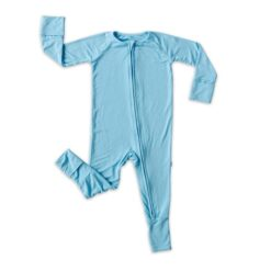 Little Sleepies Foldable Foot Cuff Pajamas in Sky Blue Baby and Toddler Pajama Romper Footie