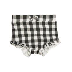 Angel Dear Gingham High Waist Shorts in Black