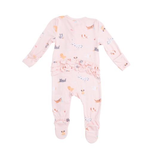Organic Bamboo Baby Pajama Zippered Footie in Ruffled Pink Puppy