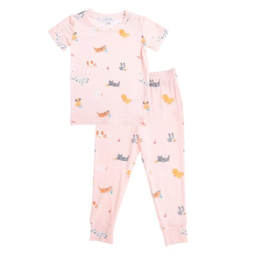 Angel Dear Puppy Play Short Sleeve Bamboo Lounge Wear Set in Pink