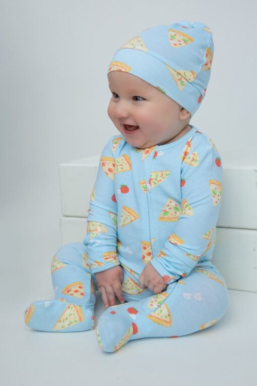 Organic Bamboo Viscose Baby Footie Pajama in Pizza Pattern by Angel Dear