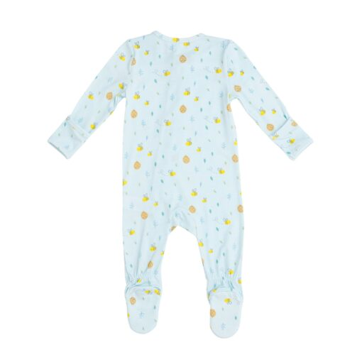 Organic Bamboo Baby Pajama Zippered Footie in Blue Bees