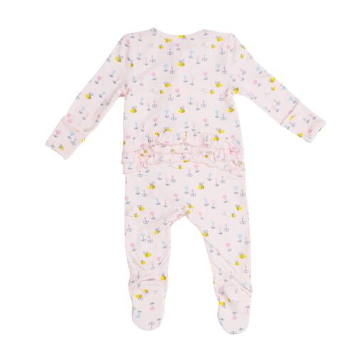 Pink Bees Baby Pajama Footie with Zipper by Angel Dear