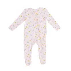 Angel Dear Little Bee Pink Ruffle Bamboo Zipper Footie