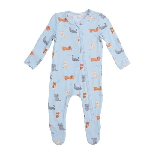Organic Bamboo Baby Pajama Zippered Footie in Blue Puppy
