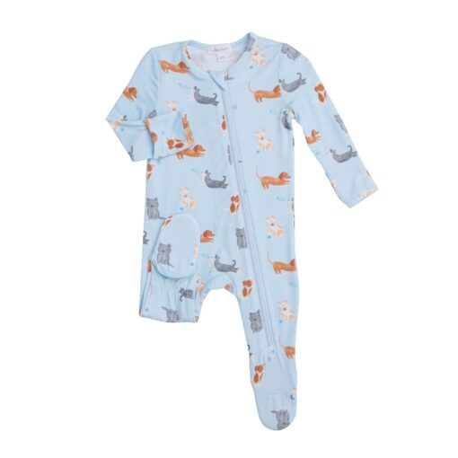 Angel Dear Puppy Play Zipper Footie in Blue