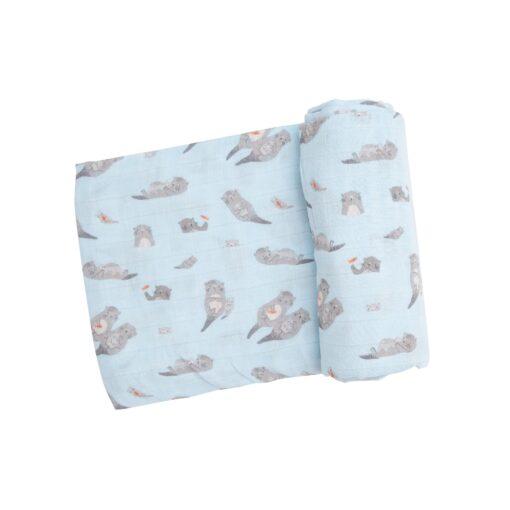 Angel Dear Otters Swaddle Blanket in Blue