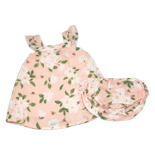 Ruffled Baby Dress and Bloomers in Floral Magnolia by Angel Dear