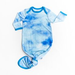 Little Sleepies Blue Watercolor Bamboo Viscose Infant Knotted Gown