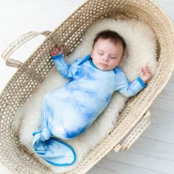 Little Sleepies Blue Watercolor Infant Knotted Gown