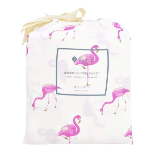 Kyte Baby Organic Bamboo Baby Crib Sheet in Pink Flamingo