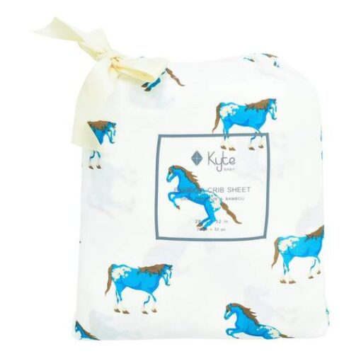 Organic Bamboo Baby Crib Sheet by Kyte Baby in Blue Horse