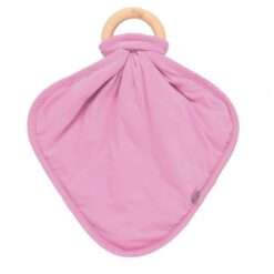 Kyte Baby Pink Bubblegum Fabric Lovey with Wooden Teether Ring