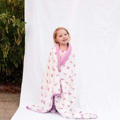Organic Bamboo Toddler Blanket by Kyte Baby in Pink Flamingo