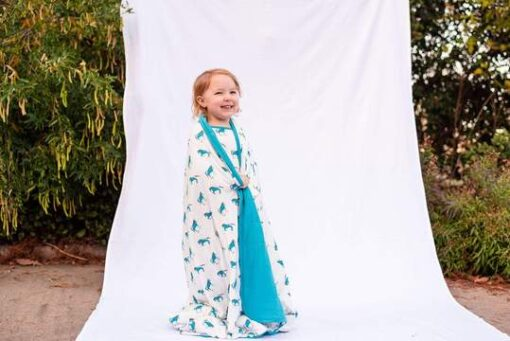Organic Bamboo Toddler Blanket by Kyte Baby in Blue Horse