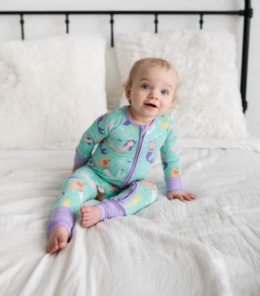 Little SleepiesMermaid Magic Bamboo Viscose Convertible Romper/Sleeper
