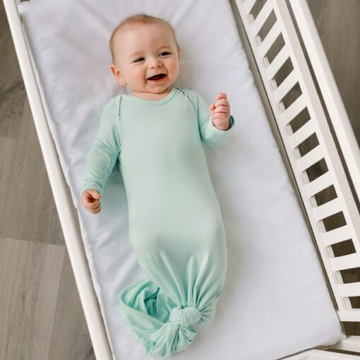 Little Sleepies Aquamarine Bamboo Viscose Infant Knotted Gown