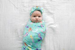Little Sleepies Mermaid Magic Swaddle & Headband Set